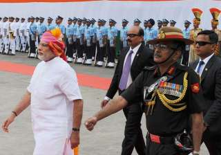 PM Narendra Modi inspecting the Guard of Honour at the Red Fort.