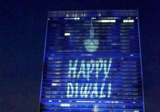 The UN headquarters lit up and greeted the people on the occasion of Diwali for the first time in New York.