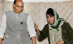 Mehbooba Mufti and Rajnath Singh at a joint press- India Tv