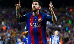 Lionel Messi of FC Barcelona celebrates after scoring a- India Tv