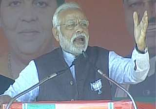 PM Narendra Modi addressing an election rally in...