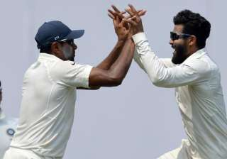 Ashwin and Jadeja celebrate during 2nd Test...