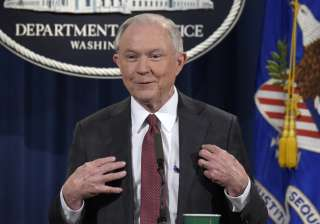 Jeff Sessions speaks during a news conference at...
