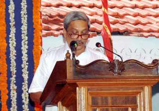 Manohar Parrikar taking oath as Goa's new CM at a...