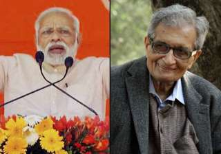 Modi takes a veiled dig at Amartya Sen on note...