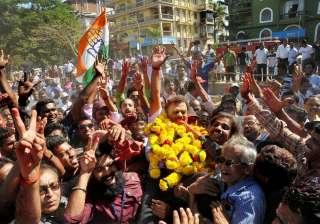 Congress' Nilakanth Halarankar celebrates his win...