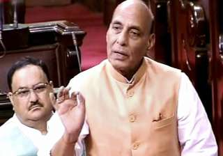 Rajnath Singh speaking in the Rajya Sabha in New...