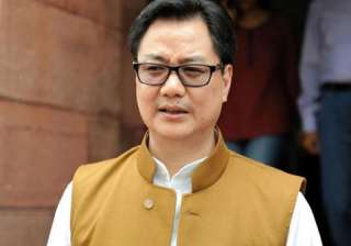 File pic of MoS for Home Affairs Kiren Rijiju...