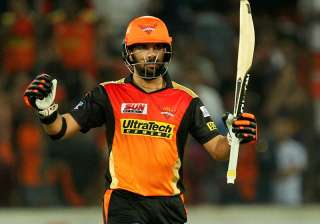 Yuvraj of SRH celebrates his fifty runs during...