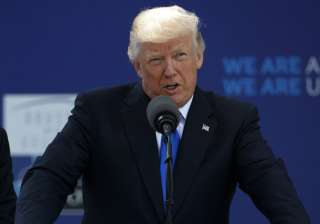 US President Donald Trump speaks at an event in...