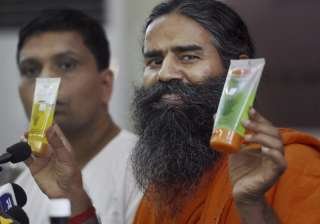 Ramdev displays Patanjali's products at its...
