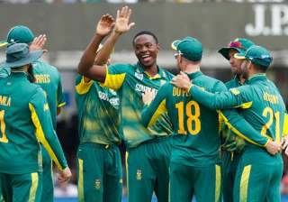 Kagiso Rabada celebrates one of his three...
