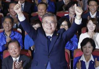 File pic of Moon Jae-in of the Democratic Party -...