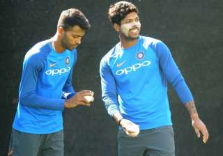 Hardik Pandya and Umesh Yadav bowl in the nets...