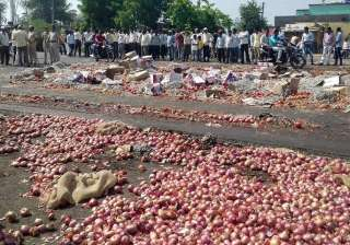 Nashik farmers throwing onions and vegetables...