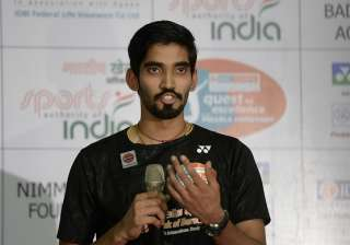 Kidambi Srikanth speaks during a press conference...