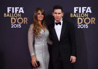 A file picture of Lionel Messi and Antonela...