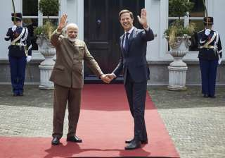 Narendra Modi with Dutch Prime Minister Mark...