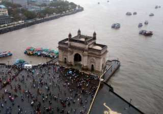 Ariel view of Gateway of India as monsoon start...