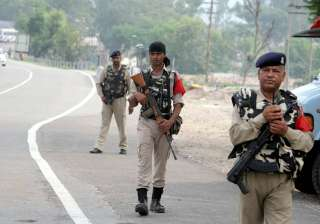 CRPF personnel patrol on Jammu-Srinagar highway...
