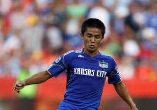 Sunil Chhetri controls the ball during the game -...