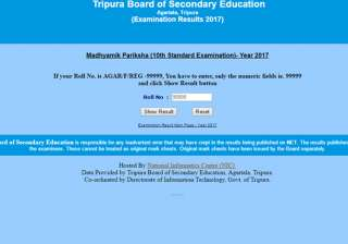 Tripura Board Declares Class 10th Results - India...