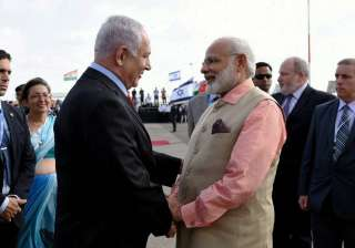 PM Modi being seen off by Netanyahu as he...