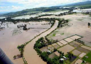 An aerial view of the flood affected areas in...