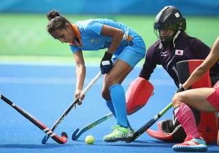 Preeti Dubey of India controls the ball - India...