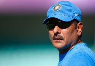 Ravi Shastri of India during the training session...