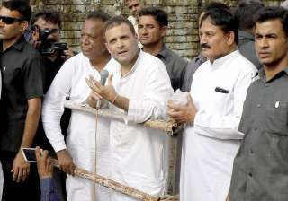 File pic - Rahul Gandhi interacts with the flood...