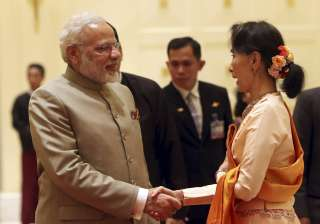 PM Narendra Modi with Myanmar's State Counsellor...