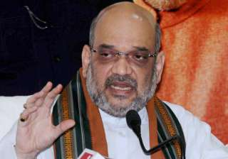 Amit Shah addresses a press conference in Ranchi...