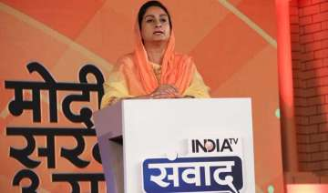 Harsimrat Kaur Badal speaking at India TV Samvaad