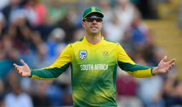 Captain AB de Villiers reacts during the match -...