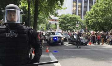Protesters after stabbing incident in portland