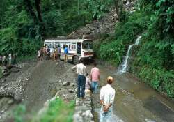 stranded tourists in sikkim safely cross road after twin
