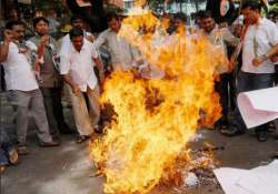 congress workers burn pm modi s effigy in protest of land