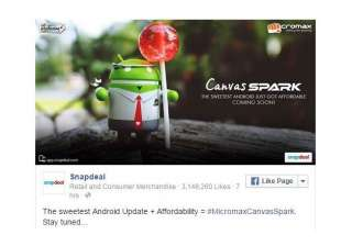 micromax canvas spark with lollipop os to be...