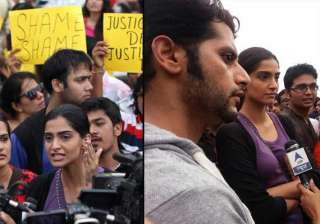 agitated sonam kapoor joins protest against...