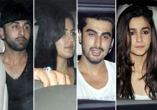 love birds ranbir katrina and alia arjun spotted...