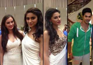 nargis ileana evelyn varun spotted on the sets of...