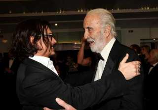 christopher lee presented bfi fellowship by depp...