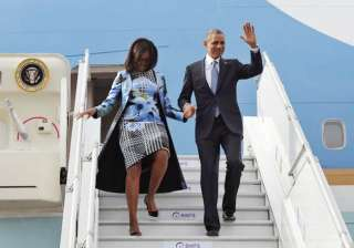 michelle obama arrives in indian american...