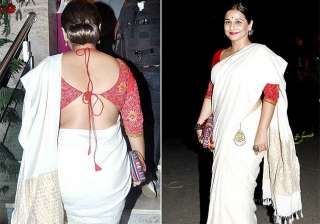 vidya balan s backless blouse with white saree...
