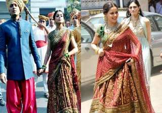 genelia d souza wears same lehenga at brother and...