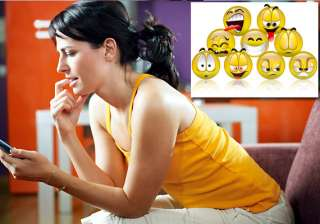 women use emoticons in text messages to express...