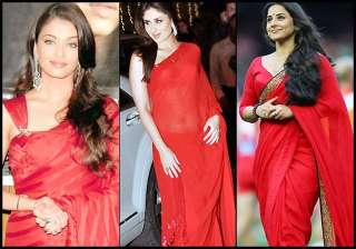 aishwarya vidya kareena s fetish for red saree...