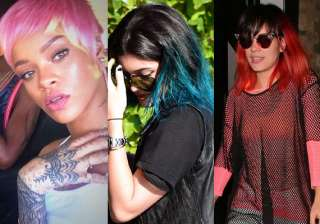 rihanna lilly kylie celebs flash weird hair...
