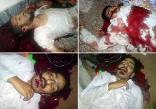 graphic photos of three dead men in osama mansion...